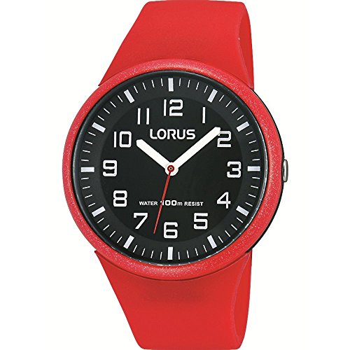 Lorus Watches Childrens Red Silicone 100m Water Resistant Watch