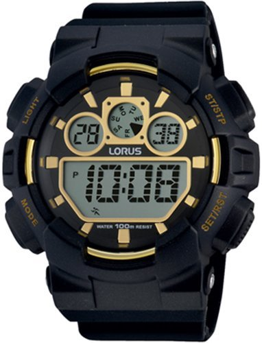 Lorus Watches Mens 100m Alarm Chronograph Ana Digi Watch With Gold Tone Accents