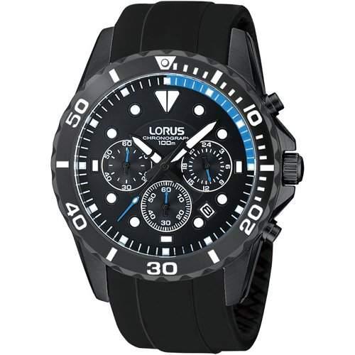 Lorus-RT339BX9-Herrenuhr-Quarz-Chronograph-Armband Gummi schwarz