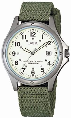 Lorus Watches Herren-Armbanduhr Titan Analog Quarz Nylon RXD425L8