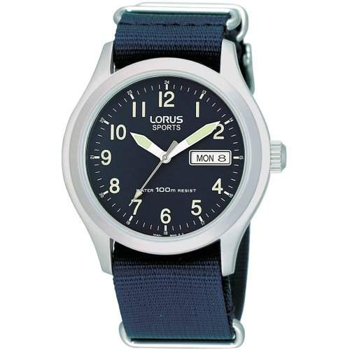 Lorus Mens Stainless Steel Case Canvas Strap Watch - RXN65AX9