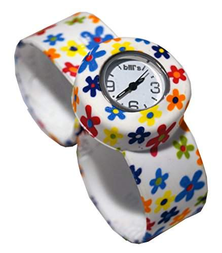 Bills Mini Watch Silikonuhr SlapBand Unisex Analog, daisy Band, weisser Uhreneinsatz