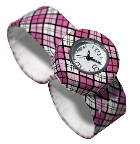 BillsMiniWatch KombiSilikon Uhr SlapBand Schlagband Damen,Kinder,waterprintdiamond Band, weisser Uhreneinsatz Analog Quarz