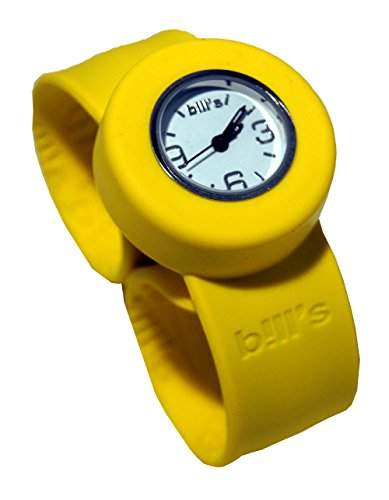 Bills Mini Watch Kombi Silikon Uhr Slap Band Schlagband Damen, Kinder, gelbes Band, weisser Uhreneinsatz Analog Quarz
