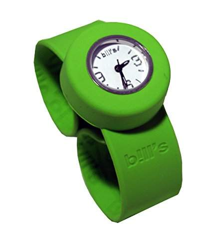 Bills Mini Watch Kombi Silikon Uhr Slap Band Schlagband Damen, Kinder, gruenes Band, weisser Uhreneinsatz Analog Quarz