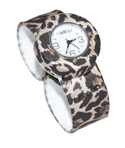 Bills Mini Watch Silikonuhr SlapBand Unisex Analog, leopard Band, weisser Uhreneinsatz