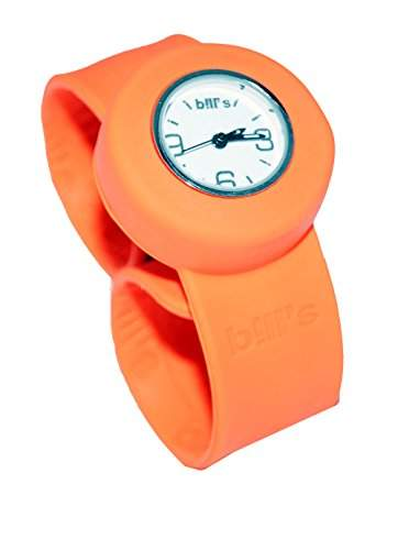 Bills Mini Watch Kombi Silikon Uhr Slap Band Schlagband Damen, Kinder, oranges Band, weisser Uhreneinsatz Analog Quarz