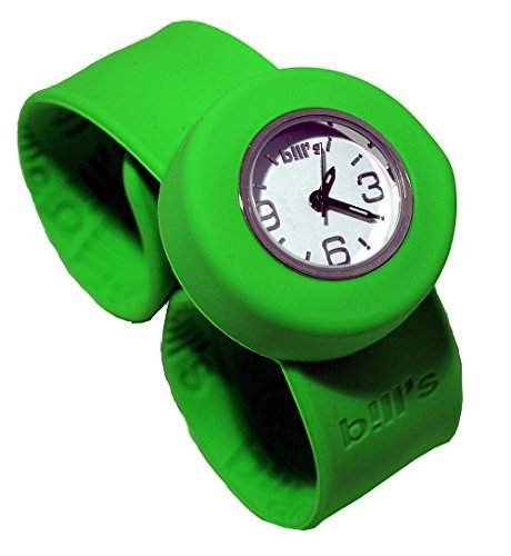 Bills Mini Watch Kombi Silikon Uhr Slap Band Schlagband Damen, Kinder, fluo-gruenes Band, weisser Uhreneinsatz Analog Quarz
