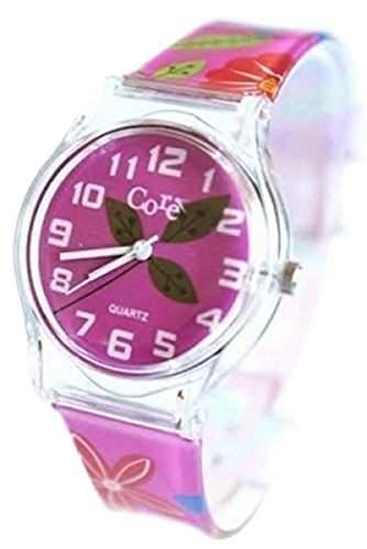 Core Modeschoepfer Maedchen Uhr Rosa Gebluemt Uhrenarmband & Ziffernblatt Analog Alle Kunststoff Mit Ein Extra Batterie  Akku