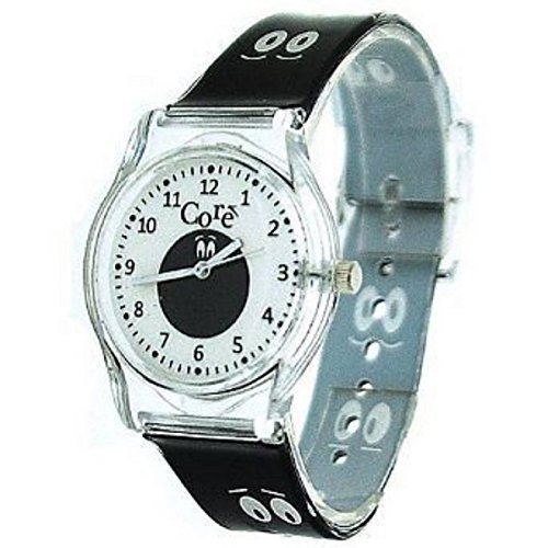 Kern Girls Designer analoger weisses Ziffernblatt Cartoon Augen schwarze Kunststoffband Watch mit einem zusaetzlichen Akku