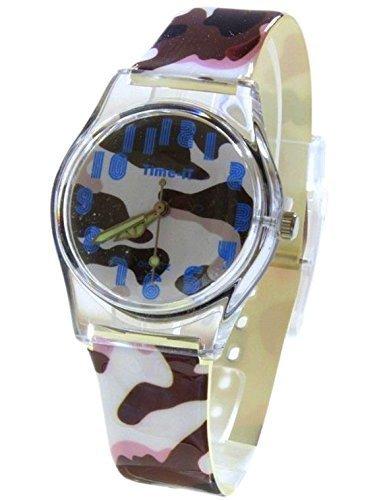 Kern Designer Maedchen analoge braunen Armee Camouflage Kunststoffband Watch