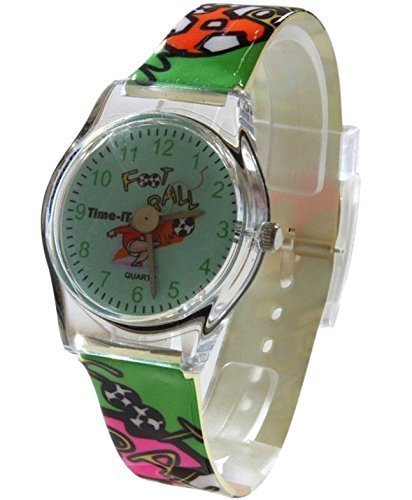 Kern Girls Designer gruene Fussball Zifferblatt mit Multi Color Football Armband Kunststoff