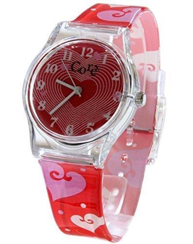 Haupt Girls Designer rot Zifferblatt Armband mit Herzen Plastikuhr