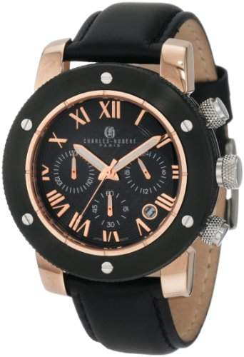 Charles-Hubert Paris Rose-Gold and Black Ion-Plated Stainless Steel Chronograph Armbanduhr 3893-BRG