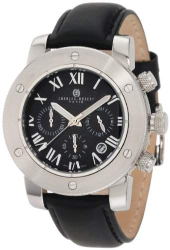 Charles-Hubert Paris Herren Stainless Steel Black Dial Chronograph Armbanduhr #3893-W