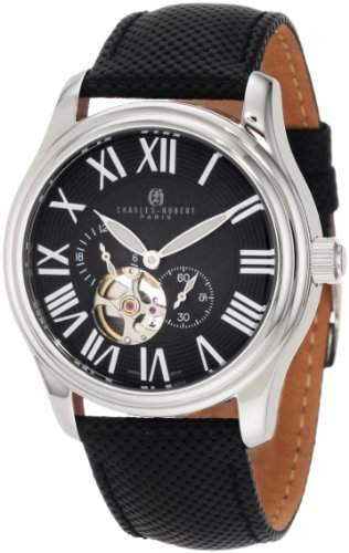 Charles-Hubert Paris Herren Stainless Steel Black Dial Automatic Armbanduhr #3894-B