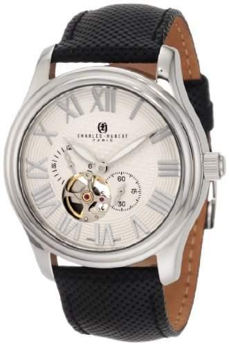 Charles-Hubert Paris Herren Stainless Steel White Dial Automatic Armbanduhr #3894-W