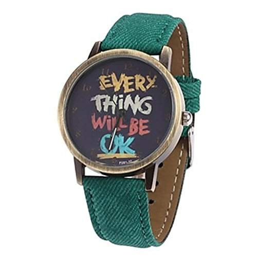 Cartoon Uhr Damen Herren Kunstleder Band Everything will be ok Quarz Kleid ArmbanduhrGruen