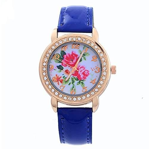 Schoene Damenuhr Rose Blumen Gold Strass Kunstleder Band Quarz ArmbanduhrDunkelblau