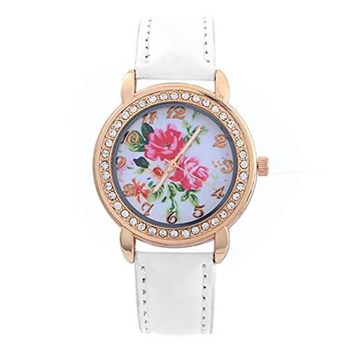 Schoene Damenuhr Rose Blumen Gold Strass Kunstleder Band Quarz ArmbanduhrWeiss