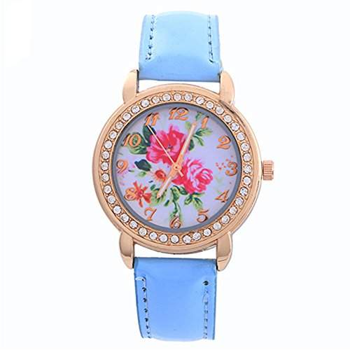 Schoene Damenuhr Rose Blumen Gold Strass Kunstleder Band Quarz ArmbanduhrHellblau