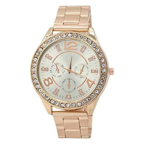 Sanwood® Luxusuhr Unisex Damen Herren Kristall Legierungsarmband Quarz Analog ArmbanduhrRosa goldig