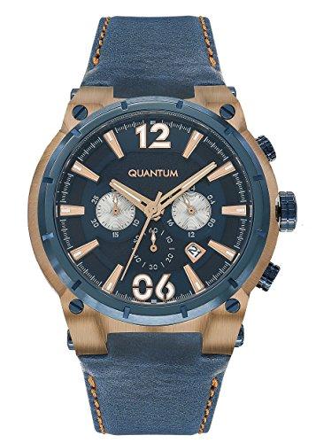 QUANTUM Herren Armbanduhr Powertech Chronograph Quarz Leder PWG407 999