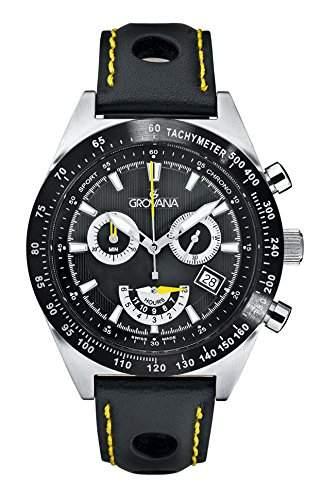 GROVANAGROVANA Herren-Armbanduhr 16229578 Chronograph Leder Schwarz 16229578