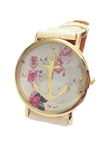LI&HI Vintage Retro Blume Damen Armbanduhr Basel-Stil Anker Blumen Leather Quarz Uhr Lederarmband Uhr Top Watch - weiss
