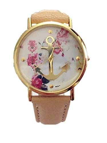 LI&HI Vintage Retro Blume Damen Armbanduhr Basel-Stil Anker Blumen Leather Quarz Uhr Lederarmband Uhr Top Watch - Hellbraun