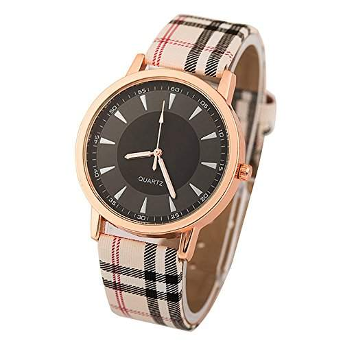 LI&HI Retro Unique Damen accessories Plaid mit minimalistischem Chassis Uhren Armbanduhr Unendlichkeitssymbol Quarz uhr Anhaenger Lederarmband Uhr Top Watch Valentinstagweiss