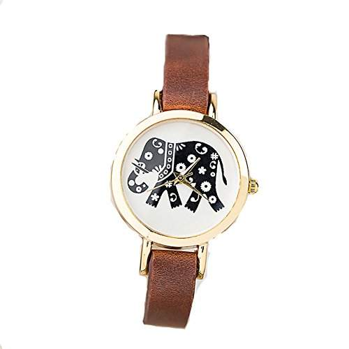 LI&HI Retro Unique Damen accessories Elephant Muster Uhren Armbanduhr Quarz uhr Anhaenger Lederarmband Uhr Top Watch Valentinstagbraun