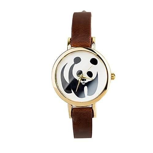 LI&HI Retro Unique Damen accessories Panda Muster Uhren Armbanduhr Quarz uhr Anhaenger Lederarmband Uhr Top Watch Valentinstagbraun