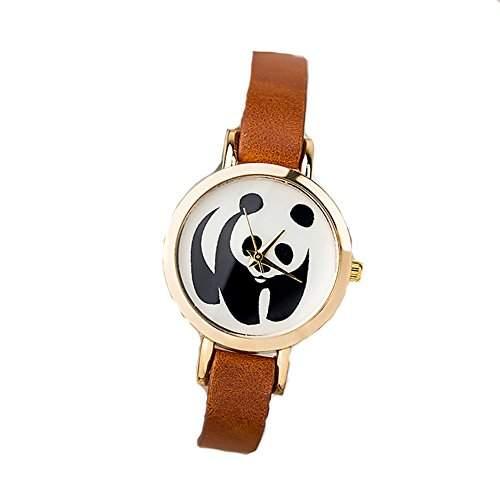 LI&HI Retro Unique Damen accessories Panda Muster Uhren Armbanduhr Quarz uhr Anhaenger Lederarmband Uhr Top Watch Valentinstagorange