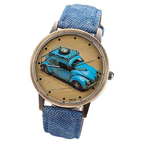 LI&HI Retro Unique Damen accessories Klassische Autos Denim Paar Uhren Armbanduhr Quarz uhr Anhaenger Lederarmband Uhr Top Watch Valentinstagblau