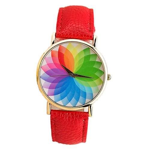 LI&HI Retro Unique Damen accessories Regenbogen-Licht Uhren Armbanduhr Quarz uhr Anhaenger Lederarmband Uhr Top Watch Valentinstagrot