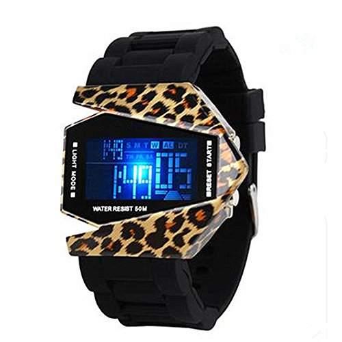 LI&HI wasserdicht Silikon LED Uhr mit Uhr Tarnung Armbanduhr fuer Liebhaber Herren Damen Unisex Watch Ihn Design Highlight -L-Leopard