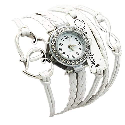 "LI&HI Retro Unique Damen Klassische ""one direction"" Autos Herz zu Herz geflochten Quarz uhr Anhaenger Lederarmband Uhr Top Watch weiss"