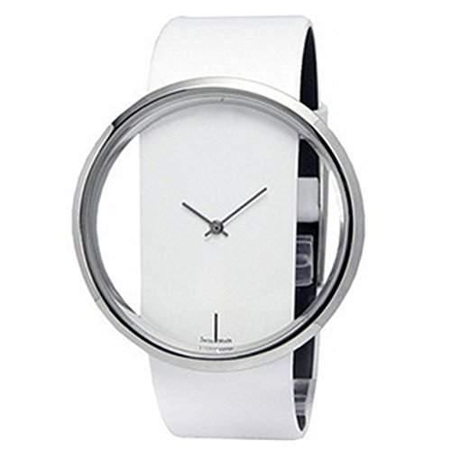 LI&HI Retro Unique Damen accessories Transparente Glas-seitige Hohlpaaruhren Armbanduhr Quarz uhr Anhaenger Lederarmband Uhr Top Watch Valentinstagweiss