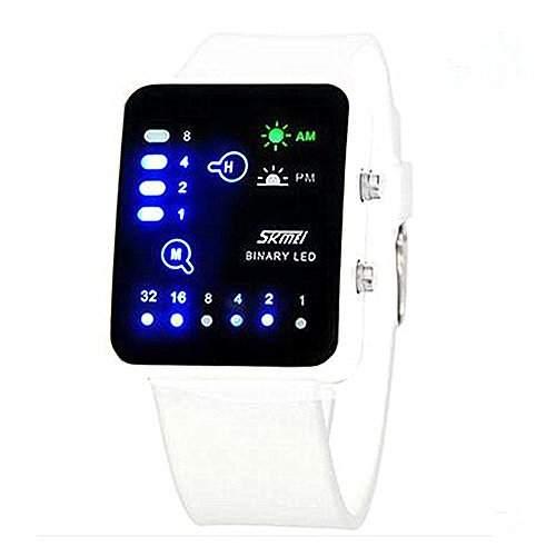 LI&HI wasserdicht Silikon LED Uhr mit Uhr sport Armbanduhr fuer Liebhaber Herren Damen Unisex Watch Ihn Design Highlight -L-weiss