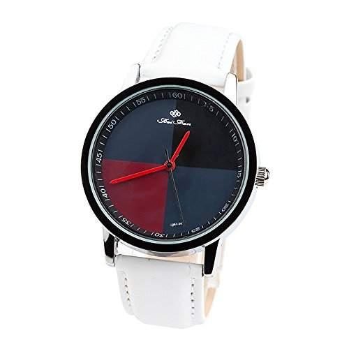 LI&HI Retro Unique Damen accessories Klassische PU Wellen Uhren Armbanduhr Quarz uhr Anhaenger Lederarmband Uhr Top Watch Vitalitaet Sommerweiss