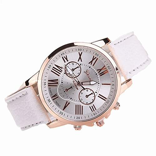 LI&HI Retro Unique Damen accessories Klassische PU Bogen Wellen Unisex Uhren Armbanduhr Quarz uhr Anhaenger Lederarmband Uhr Top Watch Vitalitaet Sommerweiss
