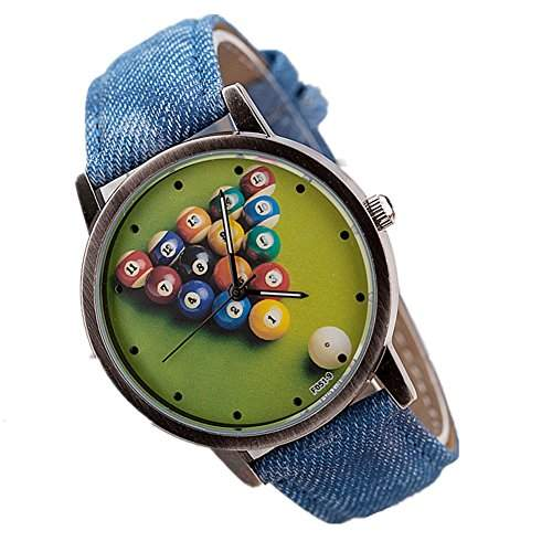 LI&HI Retro Unique Damen accessories Klassische Retro Billard waehlen PU Unisex Uhren Armbanduhr Quarz uhr Anhaenger Lederarmband Uhr Top Watch Vitalitaet Sommerblau