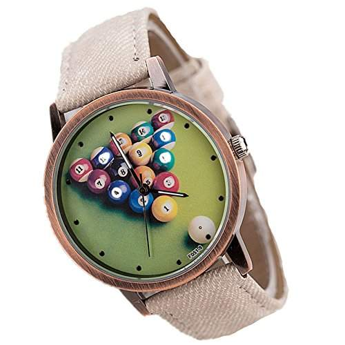 LI&HI Retro Unique Damen accessories Klassische Retro Billard waehlen PU Unisex Uhren Armbanduhr Quarz uhr Anhaenger Lederarmband Uhr Top Watch Vitalitaet Sommerbeige