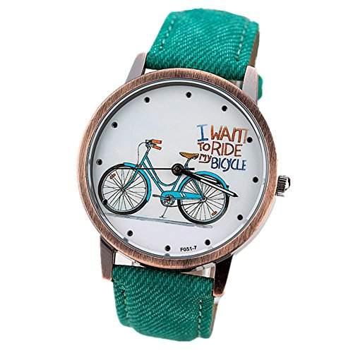 LI&HI Retro Unique Damen accessories Klassische Weinlese-Fahrrad PU Unisex Uhren Armbanduhr Quarz uhr Anhaenger Lederarmband Uhr Top Watch Vitalitaet Sommergruen