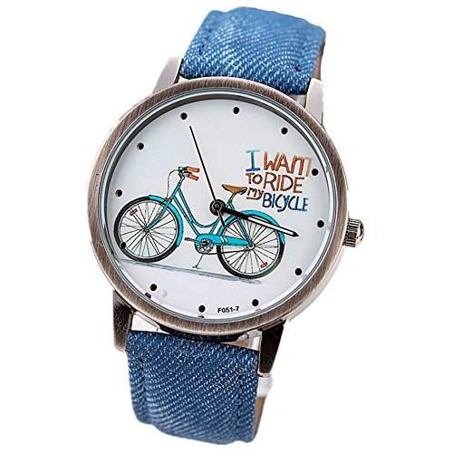 LI&HI Retro Unique Damen accessories Klassische Weinlese-Fahrrad PU Unisex Uhren Armbanduhr Quarz uhr Anhaenger Lederarmband Uhr Top Watch Vitalitaet Sommerblau