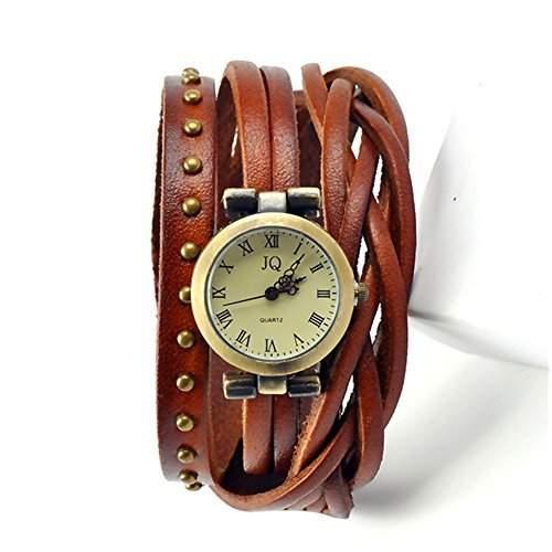 LI&HI Retro Unique Damen accessories Klassische Qualitativ hochwertige Diamant beschichtet Baendertisch Uhr Armbanduhr Quarz uhr Anhaenger Lederarmband Uhr Top Watch Vitalitaet Sommergelb