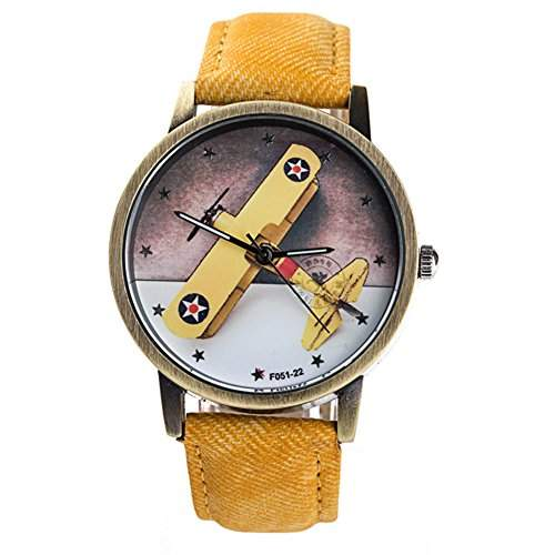 LI&HI Retro Unique Damen accessories kleine Flugzeuge Cowboyguertel kreative Uhren Armbanduhr Quarz uhr Lederarmband Anhaenger Uhr Top Watchgelb