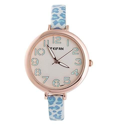 LI&HI Retro Unique Damen accessories Leopard einfachen schmalen Guertel Uhren casual Uhrenl kreative Uhren Armbanduhr Quarz uhr Lederarmband Anhaenger Uhr Top Watchblau