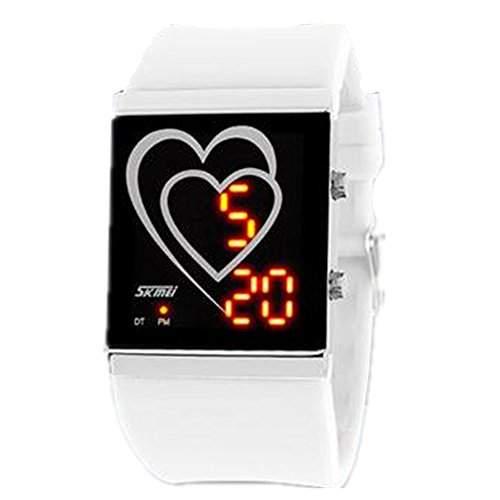 LI&HI wasserdicht Silikon LED Uhr mit Uhr sport Heart-shaped Armbanduhr fuer Liebhaber Herren Damen Unisex Watch Ihn Design Highlight -L-weiss